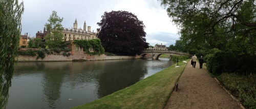 Along the Cam walking toward the Clare College bridge and King's College Chapel