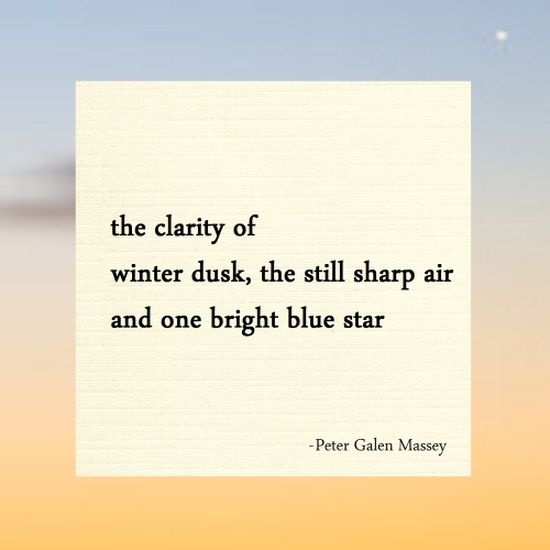 the clarity of winter dusk haiku massey