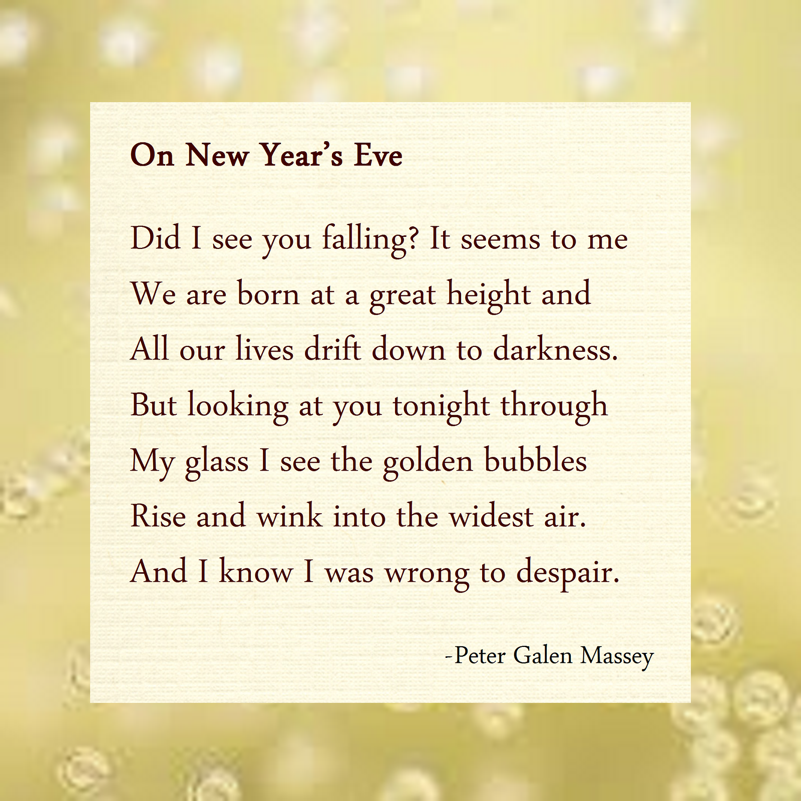 On New Years Eve Poem Massey