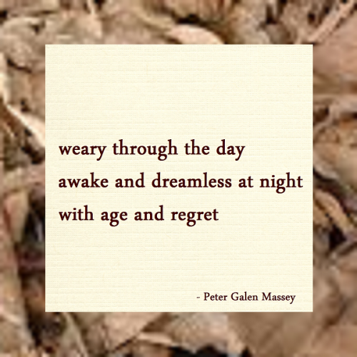 Haiku Peter Galen Massey Weary Through The Day