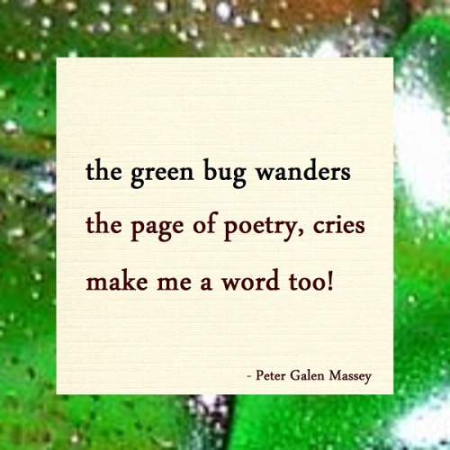 Haiku Peter Massey The Green Bug Wanders