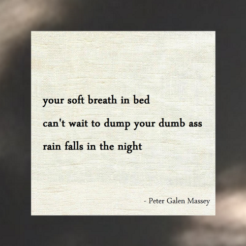Haiku Peter Galen Massey Rain Falls in the Night