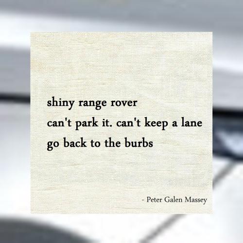 Haiku Peter Galen Massey Go Back To The Burbs