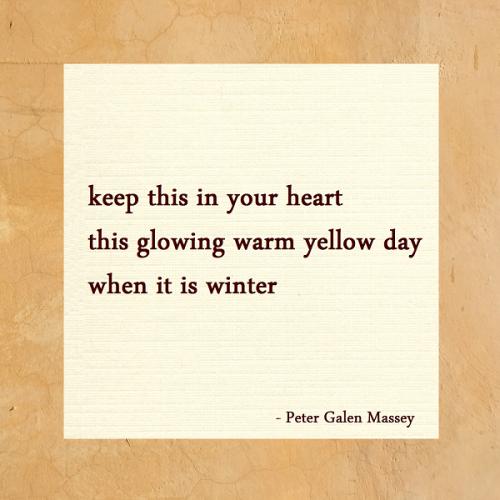 Haiku 168 Glowing Warm Yellow Day Peter Galen Massey