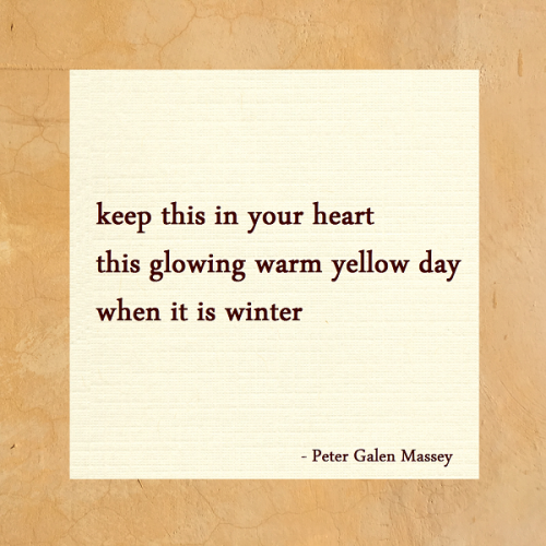 Haiku 168 Glowing Warm Yellow Day Peter Galen Massey